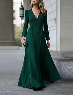 cheap -Women's A Line Dress Maxi long Dress Wine Green Black Long Sleeve Solid Color Split Patchwork Fall Winter V Neck Elegant Casual Party 2021 S M L XL
