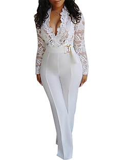 cheap -Women's Basic Sophisticated Party Wedding Holiday Deep V 2021 White Slim Jumpsuit Solid Color Cut Out Lace / High Waist