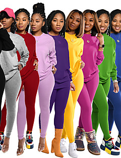 cheap -Women's 2 Piece Tracksuit Sweatsuit Street Athleisure 2pcs Winter Long Sleeve Elastane Thermal Warm Breathable Soft Fitness Gym Workout Running Jogging Training Sportswear Solid Colored Normal