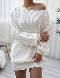 cheap -Women's Sweater Jumper Dress Short Mini Dress Blushing Pink White Light gray Long Sleeve Solid Color Patchwork Fall Spring Off Shoulder Casual Lantern Sleeve Loose 2021 S M L XL