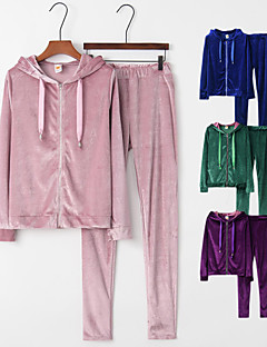 cheap -Women's 2 Piece Full Zip Athleisure Tracksuit Long Sleeve Warm Breathable Shining Velour Running Jogging Exercise Sportswear Solid Colored Track pants Purple Blue Pink Green Activewear Micro-elastic