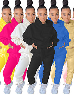 cheap -Women's 2 Piece Street Casual Tracksuit Sweatsuit 2pcs Long Sleeve Winter Lightweight Breathable Soft Nylon Running Jogging Exercise Sportswear Solid Colored Yellow Blue Pink Khaki White Black