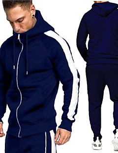 cheap -Men's 2 Piece Full Zip Casual Athleisure Tracksuit Sweatsuit 2pcs Long Sleeve Winter High Waist Thermal Warm Breathable Soft Cotton Fitness Gym Workout Running Jogging Sportswear Color Block Normal