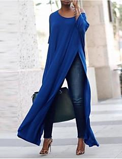 cheap -Women's T Shirt Dress Tee Dress Maxi long Dress Blue Purple Black Red Long Sleeve Solid Color Split Patchwork Fall Round Neck Casual Slim 2021 S M L XL XXL 3XL 4XL 5XL / Mini