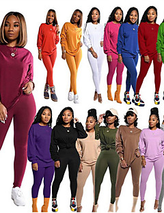 cheap -Women's 2 Piece Tracksuit Sweatsuit Casual Athleisure 2pcs Winter Long Sleeve Thermal Warm Breathable Soft Fitness Gym Workout Running Jogging Training Sportswear Solid Colored Normal Sweatshirt