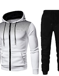 cheap -Men's 2 Piece Full Zip Street Casual Tracksuit Sweatsuit 2pcs Long Sleeve Winter Thermal Warm Breathable Soft Fitness Gym Workout Running Active Training Jogging Sportswear Polka Dot Hoodie Normal