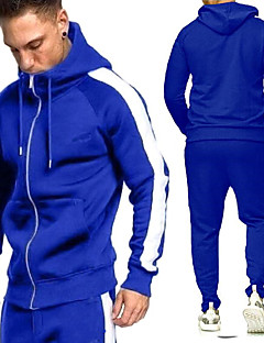 cheap -Men's 2 Piece Full Zip Tracksuit Sweatsuit Casual Athleisure 2pcs Winter Long Sleeve Breathable Sweat wicking Fitness Gym Workout Running Walking Jogging Sportswear Solid Colored Normal Hoodie Track