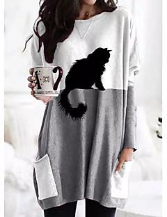 cheap -Women's Shift Dress Maxi long Dress Long Sleeve Print Cat Color Block Patchwork Print Fall Winter Casual 2021 Gray S M L XL XXL 3XL
