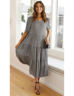 cheap -Women's Swing Dress Midi Dress Black Half Sleeve Houndstooth Smocked Patchwork Spring Summer Round Neck Casual Sexy Lantern Sleeve Loose 2021 S M L XL / Cotton / Cotton