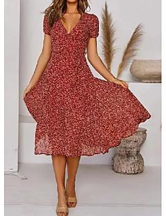 cheap -Women's Swing Dress Knee Length Dress Green Red Short Sleeve Polka Dot Print Summer V Neck Casual Vacation Boho Holiday 2021 S M L XL XXL