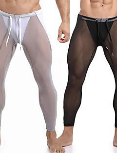 cheap -Men's Running Tights Leggings Compression Pants Athletic Pants Bottoms Mesh Yoga Fitness Gym Workout Running Exercise Moisture Wicking Soft Sport White Black Orange Sky Blue Royal Blue Gray / Skinny