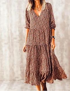 cheap -Women's Midi Dress Swing Dress Brown Long Sleeve Print Print V Neck Fall Spring vacation dresses Casual Holiday Boho Lantern Sleeve 2021 S M L XL XXL 3XL