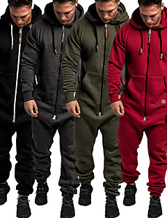 cheap -Men's One-piece Street Casual Jumpsuit Tracksuit Sweatsuit Long Sleeve Winter Warm Breathable Soft Cotton Fitness Running Walking Jogging Sportswear Solid Color Normal Navy Dark Gray Wine ArmyGreen