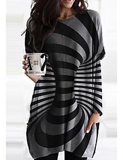 cheap -Women's Shift Dress Short Mini Dress Black Long Sleeve Striped Print Fall Spring Round Neck Casual Loose 2021 M L XL XXL 3XL