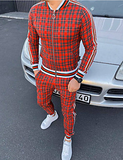 cheap -Men's 2 Piece Full Zip Tracksuit Sweatsuit Street Casual 2pcs Long Sleeve Cotton Thermal Warm Breathable Soft Gym Workout Running Jogging Training Exercise Sportswear Plaid Checkered Normal Jacket