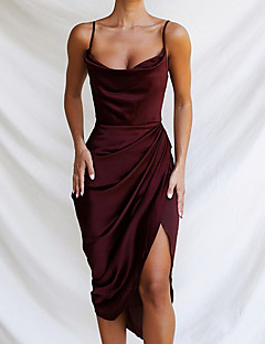 cheap -Women's Midi Dress Sheath Dress Sleeveless Split Ruched Solid Color Strapless Summer Party Party Hot Elegant 2021 S M L / Satin / Holiday