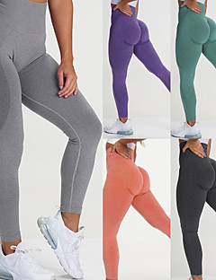 cheap -Women's Yoga Pants High Waist Tights Leggings Bottoms Seamless Solid Color Moisture Wicking Zhangqing smiley trousers Dark green smiley trousers Sky Blue Smiley Trousers Yoga Fitness Running Nylon