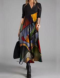 cheap -Women's Swing Dress Maxi long Dress Black Long Sleeve Print Geometic Print Spring Summer V Neck Elegant Casual Going out 2021 S M L XL XXL