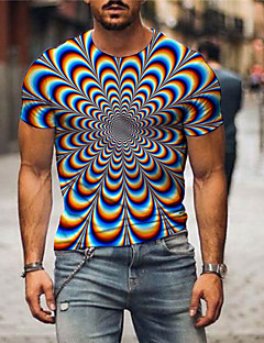 cheap -Men's Tee T shirt Shirt 3D Print Graphic Optical Illusion Print Short Sleeve Daily Tops Basic Rainbow