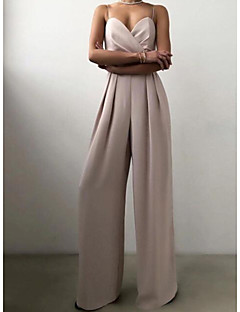 cheap -Women's Party Elegant Party Wedding Holiday Strap 2021 Yellow Peach Pink Jumpsuit Solid Color Layered Zipper Patchwork / Wide Leg / V Neck