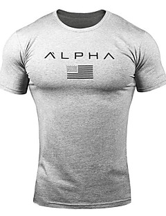 cheap -Men's Short Sleeve Running Shirt Tee Tshirt Top Summer Cotton Quick Dry Breathable Soft Fitness Gym Workout Running Jogging Sportswear Dark Grey White Black Red Army Green Camouflage Activewear
