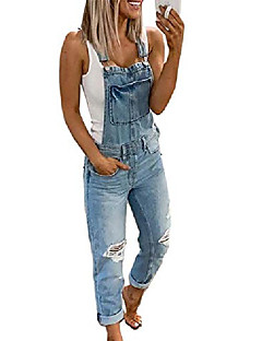 cheap -Women's Active Casual Street Daily Wear 2021 Light Blue Camouflage Gray Overall Camouflage Solid Color Denim Cotton / U Neck