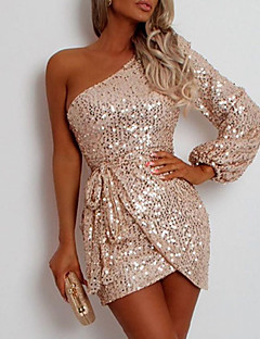 cheap -Women's Short Mini Dress Sheath Dress Champagne Sleeveless Sequins Solid Color One Shoulder Fall Spring Club Stylish Sexy 2021 Slim S M L XL XXL / Party