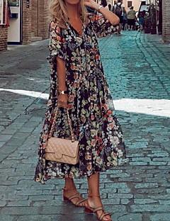 cheap -Women's Loose Midi Dress Half Sleeve Floral Print Print Spring Summer V Neck Vacation Boho Holiday Loose 2021 S M L XL XXL / Chiffon