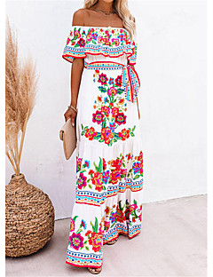 cheap -Women's Swing Dress Maxi long Dress White Short Sleeve Floral / Botanical Summer Off Shoulder Glamorous & Dramatic Holiday 2021 S M L XL XXL XXXL