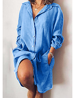 cheap -Women's Knee Length Dress Shirt Dress Blue Yellow Gray Green Black Red Navy Blue Long Sleeve Pocket Button Solid Color Pure Color Shirt Collar Fall Spring Work Casual Modern 2021 Loose S M L XL XXL