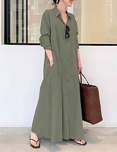 cheap -Women's Shirt Dress Maxi long Dress Long Sleeve Solid Color Pocket Button Spring Summer Shirt Collar Elegant Casual Loose 2021 S M L XL XXL XXXL 4XL 5XL / Cotton / Cotton