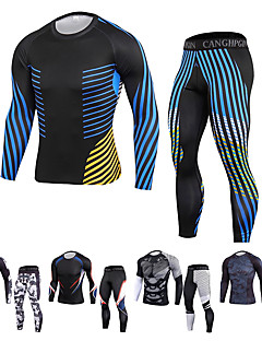 cheap -JACK CORDEE Men's 2 Piece Patchwork Athletic Athleisure Activewear Set Compression Suit 2pcs Long Sleeve Winter Quick Dry Moisture Wicking Breathable Spandex Fitness Gym Workout Running Training