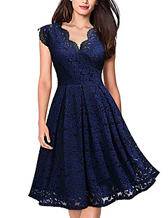 cheap -Women's Swing Dress Knee Length Dress Purple Wine Green Dusty Blue Black Sleeveless Solid Color Zipper Lace Patchwork Spring Summer V Neck Elegant Sexy Party Going out 2021 S M L XL XXL 3XL