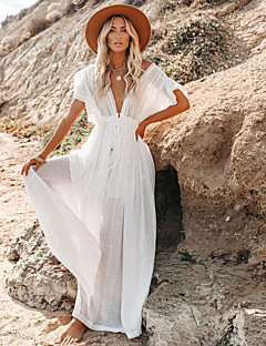 cheap -Women's Swing Dress Maxi long Dress Short Sleeve Solid Color Ruffle Button Spring Summer Deep V Vacation Sexy Holiday Holiday Beach Loose 2021 One-Size