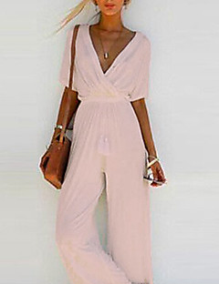 cheap -Women's Basic Casual V Neck Casual Daily Wide Leg Blushing Pink White Black Jumpsuit Solid Colored