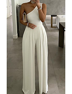 cheap -Women's Ordinary One Shoulder Party Street Wide Leg Gray White Black Jumpsuit Print Solid Color