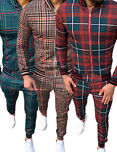 cheap -Men's 2 Piece Full Zip Street Casual Sweatsuit Gentleman Tracksuit Long Sleeve Winter Thermal Warm Breathable Soft Gym Workout Running Jogging Training Exercise Sportswear Plaid Checkered Jacket