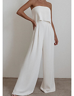 cheap -Women's Ordinary Off Shoulder White Black Camel Jumpsuit Solid Colored Patchwork