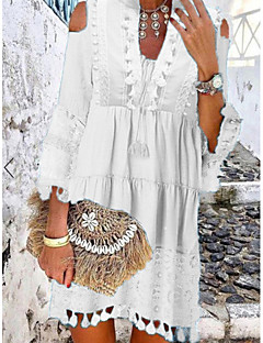 cheap -Women's Shift Dress Short Mini Dress Blue Yellow Blushing Pink White Beige 3/4 Length Sleeve Solid Color Tassel Fringe Lace Cold Shoulder Spring Summer V Neck Hot Casual Boho Holiday Beach vacation