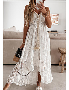 cheap -Women's Swing Dress Maxi long Dress White Beige Sleeveless Print Embroidered Lace Spring Summer V Neck Casual Holiday Boho Beach 2021 S M L XL XXL