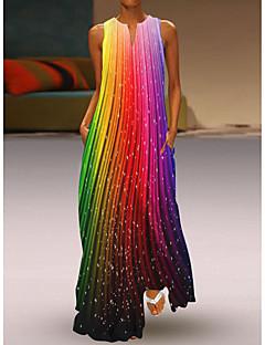 cheap -Women's Maxi long Dress Swing Dress White+Black Rainbow Orange White Black Sleeveless Pocket Print Pattern Stripes Flower V Neck Spring Summer Stylish Casual 2021 S M L XL