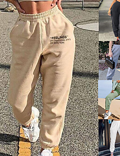 cheap -Women's Street Sweatpants Joggers Bottoms Cotton Wide Leg Fitness Gym Workout Running Exercise Winter Moisture Wicking Breathable Soft Sport Solid Color Blushing Pink Wine Grey Khaki Green White