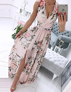 cheap -Women's Swing Dress Maxi long Dress Blue Purple Blushing Pink White Sleeveless Floral Print Split Print Spring Summer V Neck Elegant Casual 2021 S M L XL XXL XXXL