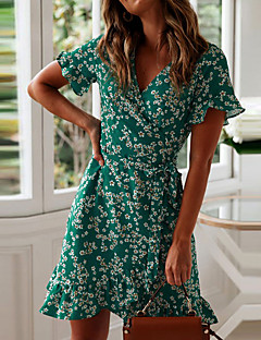 cheap -Women's Wrap Dress Short Mini Dress Green Navy Blue Short Sleeve Floral Ruffle Summer V Neck Stylish Hot Holiday 2021 S M L XL XXL