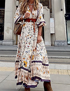cheap -Women's Maxi long Dress Swing Dress Beige Long Sleeve Print Floral V Neck Fall Summer Holiday Casual 2021 Regular Fit S M L XL