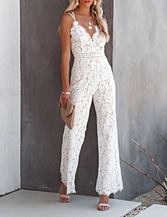cheap -Women's Casual Party Street Holiday 2021 Wine White Black Jumpsuit Solid Color Zipper Lace / Deep V