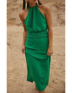 cheap -Women's Maxi long Dress Sheath Dress Green Sleeveless Solid Color Halter Neck Fall Summer Holiday Casual 2021 S M L XL