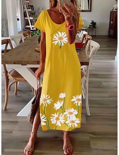 cheap -Women's Shift Dress Maxi long Dress Blue Yellow Gray Black Short Sleeve Daisy Floral Split Print Spring Summer Round Neck Casual 2021 S M L XL XXL 3XL