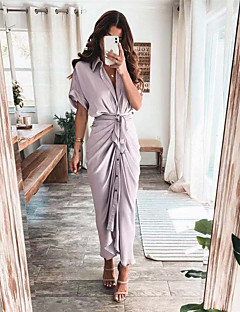 cheap -Women's Shirt Dress Maxi long Dress Blue Purple Blushing Pink Wine Army Green Gold Green Orange Light gray Black Short Sleeve Solid Color Ruched Lace up Button Fall Spring Shirt Collar Elegant Casual