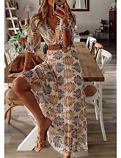 cheap -Women's Maxi long Dress A Line Dress Yellow Tropical Leaf Half Sleeve Ruched Plants Botanical Trees / Leaves V Neck Spring Summer Holiday Beach Ethnic Style Elegant Boho Retro S M L XL XXL 3XL